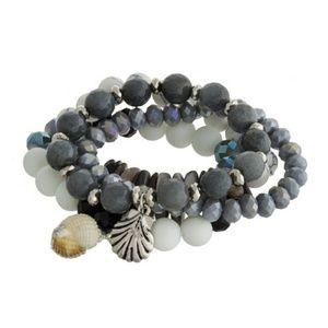 Jewelry - Natural Stones & Seashell Charms Bracelet Set